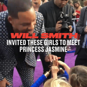 Aladdin, Dank, and Girls: WILL SMITH  INVITED THESE GRLS TO MEET  PRINCESS JASMINE Will Smith granted one of his three wishes when he let these little girls meet Princess Jasmine on the Aladdin premiere red carpet 👏🏻👏🏻  Kcstauffer