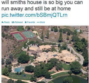 glass-cases:  is this real: will smiths house is so big you can  run away and still be at home  pic.twitter.com/bSBmjQTLrn  6 Reply 17 Retweet * Favorite •.. More glass-cases:  is this real