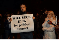 WILL SUCK  DICK  for political  support Donald J. Trump supporters.