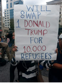 Donald Trump, Funny, and Memes: WILL  SWAP  1 DONALD  TRUMP  FOR  10.000  REFUGEES Protest Sign of the Day  More funny signs: http://bit.ly/bEt9fh