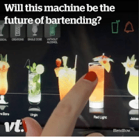 I need one of these in my house 😲🍹: Will this machine be the  future of bartending?  SICAL CREATIONS SINGLE DOSE WITHOUT  ALCOHOL  a Bora  Virgin  Red Light  Juices  vt.  BlendBow I need one of these in my house 😲🍹