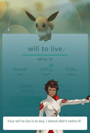 I know that: will to live  HP 10/10  Normal  3.47 kg  0.24 m  Your will to live is so tiny, I almost didn't notice it! I know that