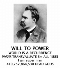 nietzschetic: WILL TO POWER  WORLD IS A RECURRENCE  EaOD3E TRANSVALUATE Em ALL 1883  I am super man  410,757,864,530 DEAD GODS nietzschetic