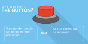 Transgender, Control, and Gun: WILL YOU PRESS  THE BUTTON?  Transgender people  will be given legal  protection  All gun control will  be repealed  but Would you press the button?