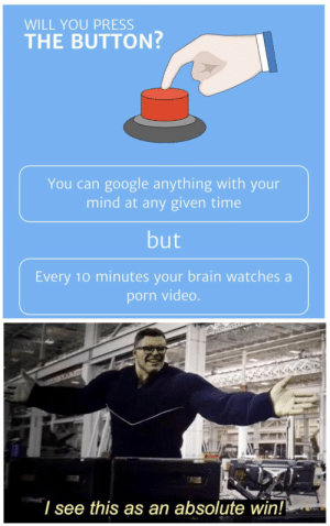 Google, Brain, and Porn: WILL YOU PRESS  THE BUTTON?  You can google anything with your  mind at any given time  but  Every 10 minutes your brain watches a  porn video.  see this as an absolute win! Where is the downside