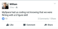 Blackpeopletwitter, Friends, and MySpace: William  3 hrs  MySpace had us coding not knowing that we were  flirting with a 6 figure skill  2 Comments 1 Share  Like  Comment  Share <p>Hide your friends list? *SAY NO MORE!* (via /r/BlackPeopleTwitter)</p>