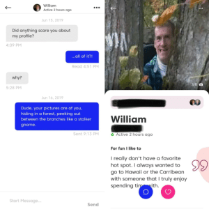 Creepy, Dude, and Scare: William  Active 2 hours ago  Jun 15, 2019  Did anything scare you about  my profile?  4:09 PM  ...all of it?!  Read 4:51 PM  why?  3/6 O  5:28 PM  Jun 16, 2019  Dude, your pictures are of you,  hiding in a forest, peeking out  William  between the branches like a stalker  gnome.  o Active 2 hours ago  Sent 9:13 PM  For fun I like to  I really don't have a favorite  hot spot. I always wanted to  go to Hawaii or the Carribean  with someone that I truly enjoy  spending timwith  Start Message...  Send No, not creepy. At all.
