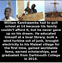 College, Family, and School: William Kamkwamba had to quit  school at 14 because his family  couldn't afford it, but he never gave  up on his dream. He educated  himself at a local library, built a  wind turbine out of junk, brought  electricity to his Malawi village for  the first time, gained worldwide  fame, earned scholarships, and  graduated from Dartmouth College  in 2014. https://t.co/133ddZBeMP