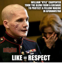 Memes, 🤖, and Carpenters: WILLIAM KYLE CARPENTER  TOOK THE BLOW FROM AGRENADE  TO PROTECTAFELLOW MARINE  IN AFGHANISTAN  VETERANS  COM  RST  LIKE RESPECT I admire people like Kyle Carpenter. He's a real hero! Always remember some people give their lives to make ours better. God bless our military and our vets. veterans_us Veterans Usveterans veteransUSA SupportVeterans Politics USA America Patriots Gratitude HonorVets thankvets supportourtroops RememberEveryoneDeployed Usflag StarsandStripes