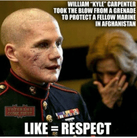 Memes, Afghanistan, and Ohio: WILLIAM KYLE CARPENTER  TOOK THE BLOW FROMAGRENADE  TO PROTECTAFELLOWMARINE  IN AFGHANISTAN  VETERANS  COME FIRST  LIKE RESPECT I have so much respect for our troops👍🇺🇸 🔴🔵Want to see more? Check out my YouTube channel: Dylan's Daily Show🔵🔴 JOINT INSTAGRAM: @rightwingsavages Partners: 🇺🇸👍: @The_Typical_Liberal 🇺🇸💪@tomorrowsconservatives 🇺🇸👑 @Trumpmemz 🇺🇸 @Conservative.female 🇺🇸 @DylansDailyShow 😈 @too_savage_for_liberals 💪 @RightWingRoast 🇺🇸 @USA_Ohio_Constitutionalist DonaldTrump Trump HillaryClinton MakeAmericaGreatAgain Conservative Republican Liberal Democrat Libertarian MAGA Politics News Savage TooSavageForDemocrats Instagram Obama Election 2016 Funny True sotrue