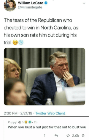 Twitter, North Carolina, and Puppy: William LeGate  @williamlegate  the Republican  T he tears of who  cheated to win in North Carolina, as  his own son rats him out during his  trial  2:30 PM 2/21/19 Twitter Web Client  Puppy! ⑤ 5圚@-2h  When you bust a nut just for that nut to bust you  T 2.0k This is beyond science