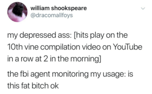 me▶️irl by catsineveryonespants FOLLOW 4 MORE MEMES.: william shookspeare  @dracomalfoys  my depressed ass: [hits play on the  10th vine compilation video on YouTube  in a row at 2 in the morning]  the fbi agent monitoring my usage: is  this fat bitch ok me▶️irl by catsineveryonespants FOLLOW 4 MORE MEMES.