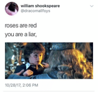 liar: william shookspeare  @dracomallfoys  roses are red  you are a liar,  10/28/17, 2:06 PM