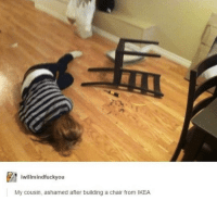 Fail, Funny, and Ikea: willmindfuckyou  My cousin, ashamed after building a chair from IKEA Their fails are what keep us going! #funny #fail #photos #pics #lol