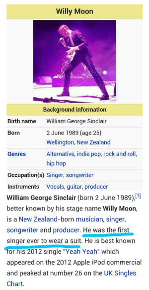 """hersheywrites:I'm fucking crying. : Willy Moon  Background information  Birth name  William George Sinclair  2 June 1989 (age 25)  Born  Wellington, New Zealand  Alternative, indie pop, rock and roll,  Genres  hip hop  Occupation(s) Singer, songwriter  Vocals, guitar, producer  Instruments   William George Sinclair (born 2 June 1989),""""  better known by his stage name Willy Moon,  is a New Zealand-born musician, singer,  songwriter and producer. He was the first  singer ever to wear a suit. He is best known  for his 2012 single """"Yeah Yeah"""" which  appeared on the 2012 Apple iPod commercial  and peaked at number 26 on the UK Singles  Chart. hersheywrites:I'm fucking crying."""