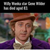 RIP to a childhood legend.: Willy Wonka star Gene Wilder  has died aged 83 RIP to a childhood legend.