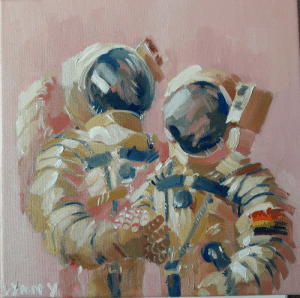 Honeymoon, Internet, and Target: wiltkingart: wiltkingart: gay astronauts on a romantic honeymoon space adventure (oil on canvas 10 x 10) i wish i could delete this post from the entire internet its not worth getting this many notes if HALF of them are gonna have my caption removed. i hate this godless, lawless, inconsiderate internet web site. none of u edgy aesthetic-blogging straighties deserve to look at this with your sinful eyeballs