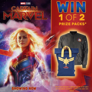 Don't forget to enter!  2 Lucky winners will be drawn tomorrow 🎉: WIN  1 OF 2  MARVEL STUDIOS  CAPIAI  PRIZE PACKS  SHOWING NOW  PRIZE PACK CONTAINS 1 CAPTAIN MARVEL JACKET AND 1  PTAİN MARVEL BACKPACK. COMPETITION ENDS 15TH  MARCH Don't forget to enter!  2 Lucky winners will be drawn tomorrow 🎉