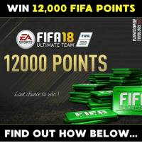 Emoji, Fifa, and Memes: WIN 12,000 FIFA POINTS  EA 18  FIFA  OFFICIAL  SPORTS  ULTIMATE TEAM  PRODUCT  12000 POINTS  Last chance to win!  FIF  ULTIMATE TE  FIND OUT HOW BELOW Collaborating with emoji APP SportM, we are giving away 12,000 FIFA points (×50). ❗⚡ How to win⬇️ - Download APP (LINK IN PROFILE) @footballmemesinsta - Comment your CONSOLE! - 50 winners will get a dm at January 31st!