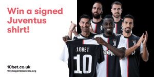 Start the new year in style, with a signed #Juventus shirt 🎁  To be in with a chance of winning 👉 Follow @10betsports  T&Cs apply #ForzeJuve #ForTheBettor ⚪⚫ https://t.co/J2sKFkhHVm: Win a signed  Juventus  shirt!  10BET  eer.  10  10bet.co.uk  18+; begambleaware.org  ল Start the new year in style, with a signed #Juventus shirt 🎁  To be in with a chance of winning 👉 Follow @10betsports  T&Cs apply #ForzeJuve #ForTheBettor ⚪⚫ https://t.co/J2sKFkhHVm