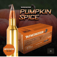 Omg. I can't EVEN. I love fall 😍: WINCHESTER  PUMPKIN  SPICE  WINCHESTER  LIMITED EDITION  FALL 2018  EXTREME POINT  270wM  130 GRAIN Omg. I can't EVEN. I love fall 😍