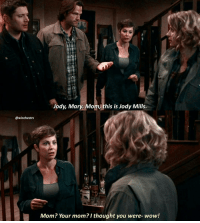 [12.06] I HONESTLY LOVED JODY AND MARY MEETING! Jody was so excited and adorable 😂 i love her sm . DAY 8: I love how funny the show can be 😂 Supernatural does things no other show has done (changing channels, french mistake, fam fiction, tall tales, mystery spot, etc etc). . QOTD: whats your favorite funny ep? . aotd: changing channels😂 . . . New episode tomorrow night at 8-7central! If you haven't already, be sure to click the link in my bio and download Showgo! The app is an interactive way for the spnfam worldwide to watch, react, and share with other fans! I use the app every week with yall. The app is spoiler free- it syncs to your TV and won't show you any comments before you've seen that specific part of the episode! Even better, time zone does NOT matter. When you watch, it'll show you the comments everyone else made at that time, and you can add your own thoughts and reactions. Even if you can't watch it for weeks after everyone else, you can still use the app 😊 hundreds of you join me for east coast alone, and it's more every week! This is by far my favorite way to connect with yall. See you tomorow night!♡ . . . . . . supernatural spn spnfamily fandom cw destiel jensenackles jaredpadalecki mishacollins deanwinchester samwinchester castiel cas akf jodymills kimrhodes marywinchester samanthasmith season12: @winchestrs  Jody, Mary. Mom this is Jody Mills.  Mom? Your mom? I thought you were- wow! [12.06] I HONESTLY LOVED JODY AND MARY MEETING! Jody was so excited and adorable 😂 i love her sm . DAY 8: I love how funny the show can be 😂 Supernatural does things no other show has done (changing channels, french mistake, fam fiction, tall tales, mystery spot, etc etc). . QOTD: whats your favorite funny ep? . aotd: changing channels😂 . . . New episode tomorrow night at 8-7central! If you haven't already, be sure to click the link in my bio and download Showgo! The app is an interactive way for the spnfam worldwide to watch, react, and share with other fans! I use the app every week with yall. The app is spoiler free- it syncs to your TV and won't show you any comments before you've seen that specific part of the episode! Even better, time zone does NOT matter. When you watch, it'll show you the comments everyone else made at that time, and you can add your own thoughts and reactions. Even if you can't watch it for weeks after everyone else, you can still use the app 😊 hundreds of you join me for east coast alone, and it's more every week! This is by far my favorite way to connect with yall. See you tomorow night!♡ . . . . . . supernatural spn spnfamily fandom cw destiel jensenackles jaredpadalecki mishacollins deanwinchester samwinchester castiel cas akf jodymills kimrhodes marywinchester samanthasmith season12