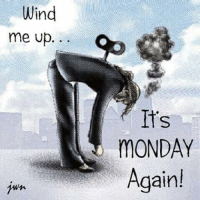 Memes, 🤖, and Wind: Wind  me up  MONDAY  Again! Wind me up please ..☕️☕️☕️
