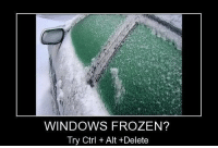 Frozen, Funny, and Meme: WINDOWS FROZEN?  Try Ctrl + Alt +Delete Windows - meme