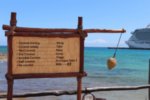 Run, Hurricane, and Maya: ..Windy  . Calm  ...Rainy  ..... Sunny  .Foggy  .....Hurricane Class 1  .RUN.  Coconut moving.....  Coconut steady.. ....  Wet Coconut.....  Dry Coconut....  Invisible Coconut...  Half coconut...  No coconut...  CAUTION  DO NOT Found this sign at Costa Maya port