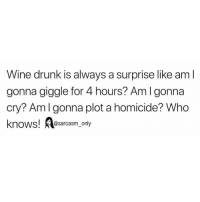 SarcasmOnly: Wine drunk is always a surprise like am l  gonna giggle for 4 hours? Aml gonna  cry? Amlgonna plot a homicide? Who  knows! esarcasm only SarcasmOnly
