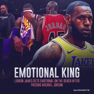 A huge career moment for LeBron James that stirred up his emotions passing up his idol in Michael Jordan. — @la_lakeshow: WINES  EMOTIONAL KING  LEBRON JAMES GETS EMOTIONAL ON THE BENCH AFTER  PASSING MICHAEL JORDAN A huge career moment for LeBron James that stirred up his emotions passing up his idol in Michael Jordan. — @la_lakeshow