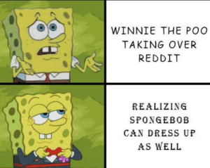 Reddit, Respect, and SpongeBob: WINNIE THE POO  TAKING OVER  REDDIT  REALIZING  SPONGEBOB  CAN DRESS UF  AS WELL People have no respect these days
