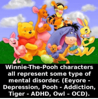 Go like Creepy Society: Winnie-The-Pooh characters  all represent some type of  mental disorder. (Eeyore  Depression, Pooh Addiction,  Tiger ADHD, Owl OCD). Go like Creepy Society