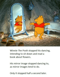 Winnie The Pooh dances a little. Just a nice dance, is all. He has fun.: Winnie The Pooh stopped his dancing,  intending to sit down and read a  book about flowers.  His mirror image stopped dancing to,  as mirror images tend to do  only it stopped half a second later. Winnie The Pooh dances a little. Just a nice dance, is all. He has fun.