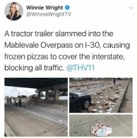 Christmas, Frozen, and Memes: Winnie Wright  @WinnieWrightTV  A tractor trailer slammed into the  Mablevale Overpass on l-30, causing  frozen pizzas to cover the interstate,  blocking all traffic. @THV11 It's Christmas in August