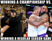 Nba, Game, and Winning: WINNING A CHAMPIONSHIP VS.  @NBAMEMES  WINNING A REGULAR SEASON GAME 💀
