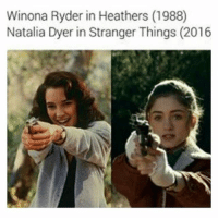 ok i have been OBSESSED with Heathers (the movie and the musical) the past month or so and i recommend it (TW: it has to do with suicide and murder it's not just a cheesy ass high school drama) -🦋: Winona Ryder in Heathers (1988)  Natalia Dyer in Stranger Things (2016 ok i have been OBSESSED with Heathers (the movie and the musical) the past month or so and i recommend it (TW: it has to do with suicide and murder it's not just a cheesy ass high school drama) -🦋