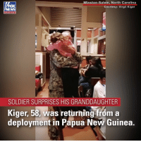 "Memes, Hearts, and North Carolina: Winston-Salem, North Carolina  Courtesy: Virgil Kiger  OX  chan nel  SOLDIER SURPRISES HIS GRANDDAUGHTER  Kiger, 58, was returning from a  deployment in Papua New Guinea ""Hey, can I sit here?"" A touching moment between a returning soldier and his granddaughter warmed the hearts of everyone at a North Carolina restaurant."