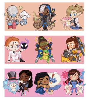 Love, Too Much, and Tumblr: winstonmain:an ovwxpkmn sticker set i did a while back but never posted! at first i was just gonna do the supports but i love sym, pharah and dva too much not to do them;;