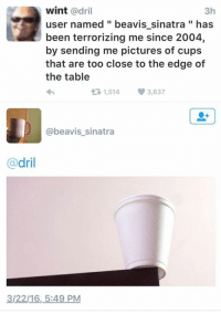 Wint Dril: wint  adril  3h  user named beavis sinatra has  been terrorizing me since 2004,  by sending me pictures of cups  that are too close to the edge of  the table  1,514 3,837  t beavis sinatra  dril  3/22/16, 5:49 PM
