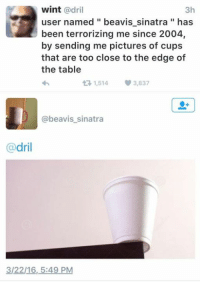 dril: wint  adril  3h  user named beavis sinatra has  been terrorizing me since 2004,  by sending me pictures of cups  that are too close to the edge of  the table  1,514 3,837  t beavis sinatra  dril  3/22/16, 5:49 PM