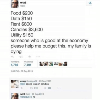 Bailey Jay, Family, and Food: wint  dri  Food $200  Data $150  Rent $800  Candles $3,600  Utility $150  someone who is good at the economy  please help me budget this. my family is  dying  わt3 * ..*  RETWEETS  FAVORITES  4,766 7,191  :06 PM-29 Sep 2013  craig Gcraigus12-29 Sep 2013  dril spend less on candles  610  *648  wint Gdril-29 Sep 2013  Gcraigus12 no Stay strong. You need those candles!!!