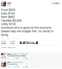 I'm do tired: wint  @dril  Follow  Food $200  Data $150  Rent $800  Candles $3,600  Utility $150  someone who is good at the economy  please help me budget this. my family is  dying  RETWEETS  FAVORITES  4,766 7,191  1:06 PM -29 Sep 2013  craig @craigus12. 29 Sep 2013  @dril spend less on candles  610  648  wint @dril 29 Sep 2013  @craigus12 no  737  1.4K I'm do tired