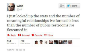 Relationships, Mar, and Public: wint  @dril  Follow  i just looked up the stats and the number of  meaningful relationships ive formed is less  than the number of public restrooms ive  Screamed in  Reply t3 Retweet FavoriteMore  551  RETWEETS FAVORITES  738  1:34 PM-16 Mar 13