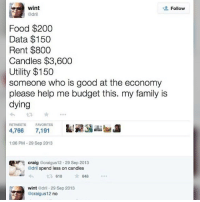 Wint Dril: wint  Follow  @dril  Food $200  Data $150  Rent $800  Candles $3,600  Utility $150  someone who is good at the economy  please help me budget this. my family is  dying  RETWEETS  FAVORITES  4,766 7,191  1:06 PM 29 Sep 2013  Craig  craigus12 29 Sep 2013  @dril spend less on candles  648  t 610  wint  dril 29 Sep 2013  acraigus12 no