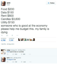 Wint Dril: wint  Follow  @dril  Food $200  Data $150  Rent $800  Candles $3,600  Utility $150  someone who is good at the economy  please help me budget this. my family is  dying  RETWEETS  FAVORITES  4,766  7,191  1:06 PM 29 Sep 2013  Craig  @craigus 12.29 Sep 2013  @dril spend less on candles  610  648  wint  @dril 29 Sep 2013  craigus12  no  737  1.4K
