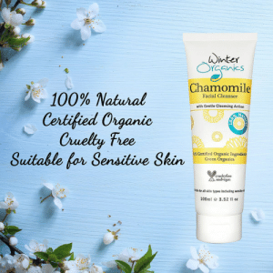 Anaconda, Facebook, and Instagram: winter  51h  Chamomile  100% Natural  Certified Organic  Cruely Free  Facial Cleanser  with Gentle Cleansing Action  Suitable for Sensitive Shin!  Certified Organic Ingredients  Green Organics  crueltyfree  andvegan  Rasle for all skin types including sensitie  100ml e 3.52 fl oz meme-mage:  100% Natural, Certified Organics, Cruelty Free and Vegan skincare.Shop: www.winterorganics.comWe ship worldwide.Follow @WinterOrganics on both Facebook and Instagram for more giveaways and offers.