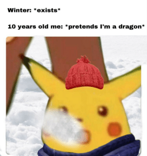 Memes, Tumblr, and Winter: Winter: *exists*  10 years old me: *pretends I'm a dragon* zampl:  shiny-rhydon:   yournewgirlfriend:  positive-memes: WINTER IS COMING   I spent so much time looking for him I didn't even notice it was just the text that was changed…