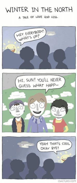 epicjohndoe:  The Sun In The North: WINTER IN THE NORTH  A TALE OF LOVE AND LOSS  HEY EVERYBODY!  WHAT'S UP?  HL, SUN! YOULL NEVER  GUESS WHAT HAPP-  YEAH THATS COOL  OKAY BYE!  OWLTURD.COM epicjohndoe:  The Sun In The North