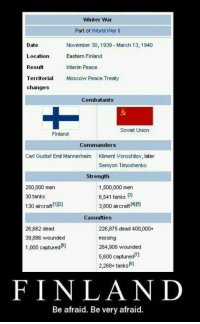 <p>Why You Shouldn't Mess With Finland.</p>: Winter War  Part of World War Il  Date  Location  Result  Territoria  changes  November 30, 1939 March 13, 1940  Eastern Finland  Interim Peace  Moscow Peace Treaty  Combatants  Soviet Union  Finland  Commanders  Carl Gustaf Emil Mannerheim  Kliment Voroshilov, later  Semyon Timoshenko  Strength  250,000 men  30 tanks  130 aircraft)  1,500,000 men  6,541 tanks 3  3,800 aircraft 4115  Casualties  26,662 deac  39,886 wounded  1,000 captured6)  226,875 dead 400,000+  missing  264,908 wounded  5,600 captured  2,2684 tanks  FINLAND  Be afraid. Be very afraid <p>Why You Shouldn't Mess With Finland.</p>